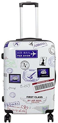 Warenhandel König Polycarbonat Hartschalen Koffer Trolley Reisekoffer Reisetrolley Handgepäck Boardcase Motiv PM (Flugreise, Größe L)