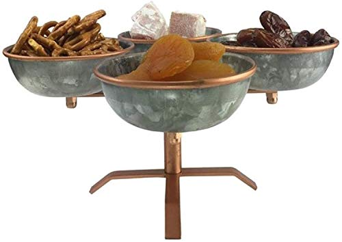 Galrose Appetizer Dish And Stand, Galvanized Iron With Gold Rose Accents.
