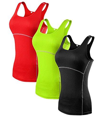 YR.Lover Damen 3er Pack Dry Fit Kompression Running Yoga Tank Top T-Shirt, M, 3er Pack;Schwarz.Grün.Rot