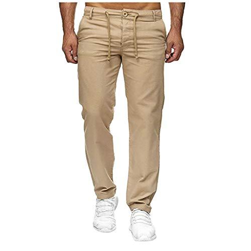 SHE.White - Pantalones de lino para hombre, talla grande, para verano, cómodos, tallas S-5XL