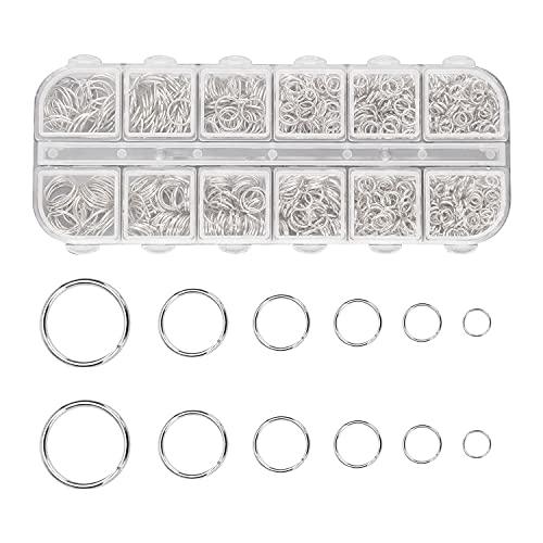 1200 Piezas Anillos de Salto Abiertos de Metal de 4-10 mm, Conectores de Anillo Redondo Para Hacer Joyería DIY, Collar de Pulsera de Reparación, Accesorios de Joyería (plata)