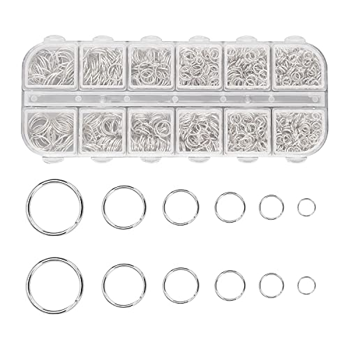 1200pcs Metal Open Jump Rings, 4-10mm Mixed Size Silver Plated Round Ring...