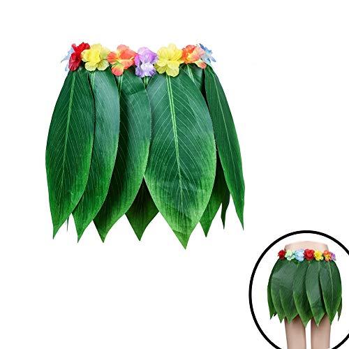 Chytaii Falda de Hierba Hawaiana Accesorios para Festivales de Danza Falda de Playa Falda de Hierba de Baile Falda de Hojas y Flores Verde Material de Paño Falda de Mujer Adulto 68 * 38cm