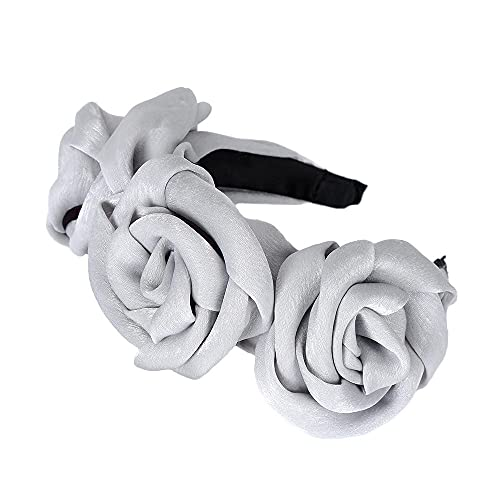 Diadema Mujer Banda Para El Cabello Sra. Triple Rose Deedband Winter Rose Bow High Con Diadema De Rock Sinish-A-14