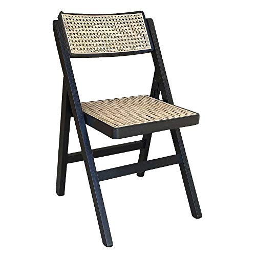 Silla plegable negra con asiento de paja de Vienna Lux.