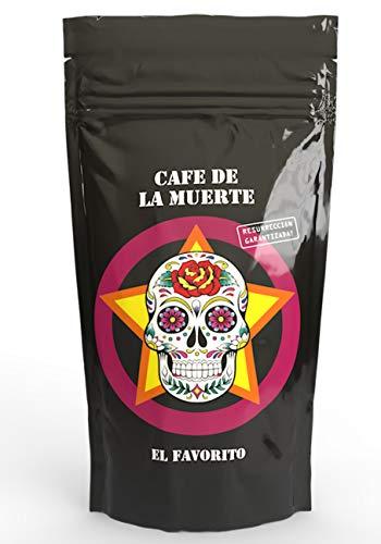 Cafe de la muerte | Espresso | Starker Kaffee Starkes Design | El Favorito | Ganze Kaffeebohnen Trommel geröstet | Ideales Geschenk für jeden Kaffee-Liebhaber | Mit toller Karte