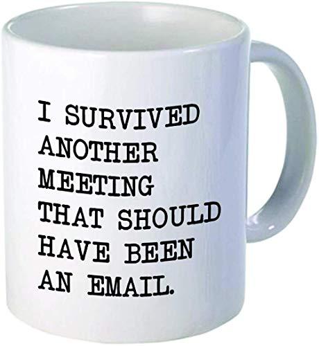 Sobreviví a otra reunión de oficina taza de cerámica taza Dunder Mifflin-Un lado SOBREVIVIÓ y el otro Dunder_301-400ml