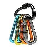 """Zalava 6pcs 2""""D-Clip Durable Locking Carabiner Keychain Clip,Keychain Clip Hook"""