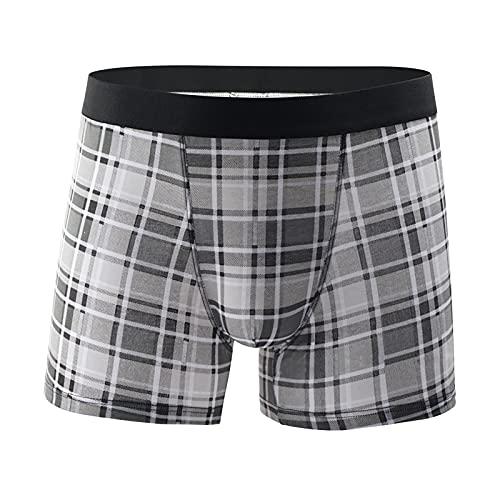 Men's Underwear Printed Plaid Cotton Boxer Briefs Breathable Boxer briefs Bag (Plaid 1, Small)