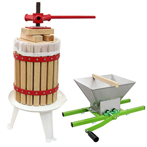 KuKoo 18 Litre Fruit Press and 7 Litre Crusher Bundle Manual Shredder Wine Making Portable Pulper...