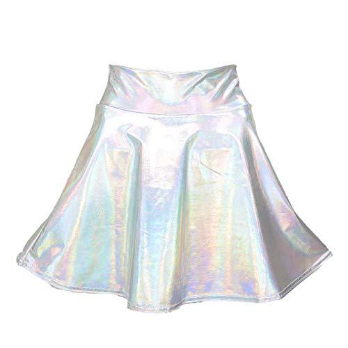 Kasonj Traje de Baile de Las señoras Metalizadas Mini Falda Skater Ballet Dance Circular en la Falda de Disfraces de Halloween