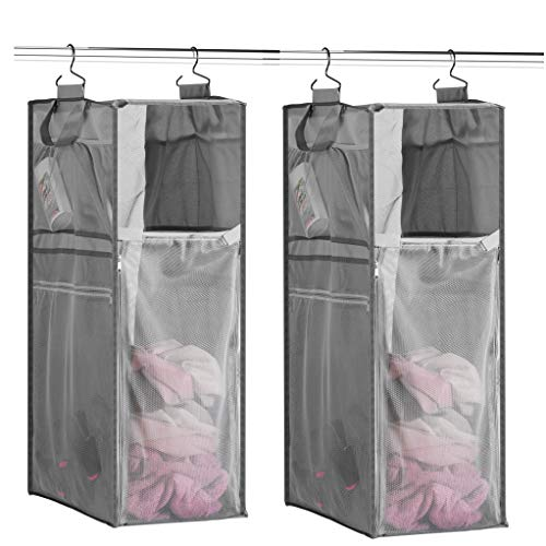 Product Image of the Space Saving Hanging Laundry Hamper [70L Load Capacity] (2 Pack) Free Up Floor Space, Breathable Mesh Hanging Laundry Bag Side Pockets, Carrying Handles, Zippered Front Easy Unloading, Ideal for Dorm