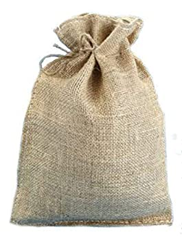 10  x 14  Natural Burlap Bags with Jute Drawstring  10 Pack  - Large Burlap Pouch Sack Favor Gift Bag for Showers Weddings Parties and Receptions - 10x14 inch