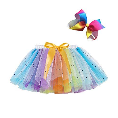 ハロウィン衣装 人気 ドレス チュチュスカート キッズ 2点セット Rainbow カラフル 子供 TUTU チュールスカート パニエ 可愛い ダンスドレス ダンス衣装 文化祭/結婚式/卒園式/二次会 (S/イエロー)