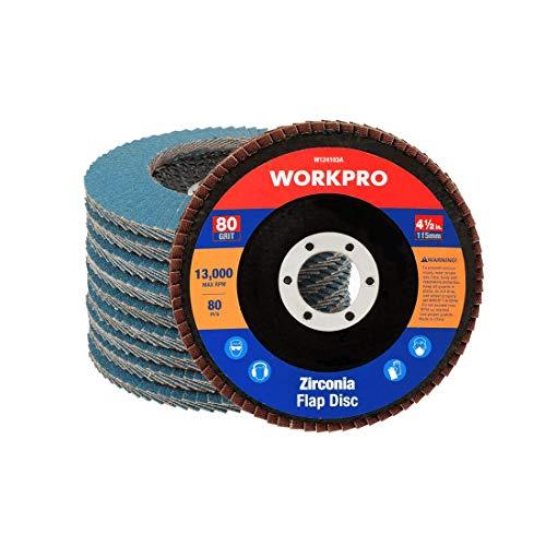 WORKPRO Fächerscheiben 10 Stück Ø 115 mm x 22,23 mm Fächerschleifscheibe - Körnung 80 - Blau Standard Schleifmopteller für Edelstahl, Metall und Holz