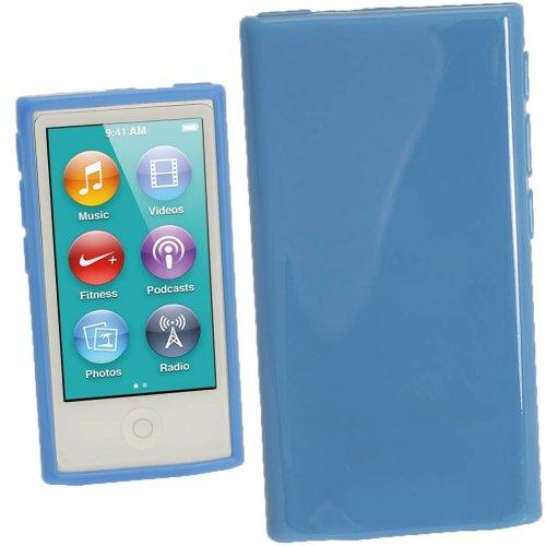 Preisvergleich Produktbild iGadgitz U2011 Glänzend Dauerhafte Kristall Gel Tasche TPU Hülle Schutzhülle Etui und Displayschutzfolie Kompatibel mit Apple iPod Nano 7 Gen - Blau