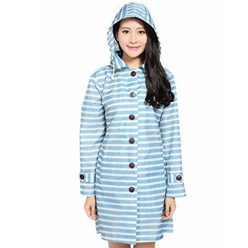 Vestes anti-pluie QFF Raincoat Femme Adulte sur Pied Personnalité Windbreaker Poncho imperméable Respirant Longue Section Tourisme Mince (Couleur : Bleu)