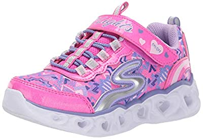 Skechers Kids Girls' Heart Lights Sneaker, neon Pink/Multi, 12 Medium US Little Kid