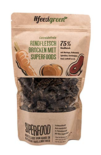 FeedGreen getreidefreies Hundefutter I Barf Trockenfutter I 75% Rindfleisch I 24% Gemüse 1% Lachs Öl