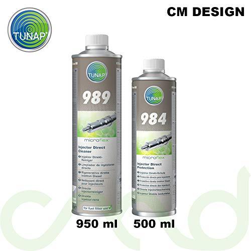 -Tunap Microflex 989 Nettoyant Injection directe pour moteur Diesel de 950 ml + Produit d'entretien injection directe 984 pour moteur Diesel, 500 ml sous forme de lot pratique