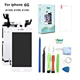 Screen Replacement for iPhone 6 (4.7 inch) - LCD Display Touch Digitizer Assembly Set with Proximity Sensor, Front Camera, Earpiece, Tempered Glass, Repair Tools and Instruction (White)