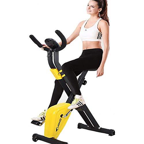 SEMOPAWA - Bicicleta estática de interior, mini bicicleta de ejercicio, giratoria, plegable, máquina de gimnasio doméstico, equipo de fitness para deportes, ciclismo, fitness, color amarillo