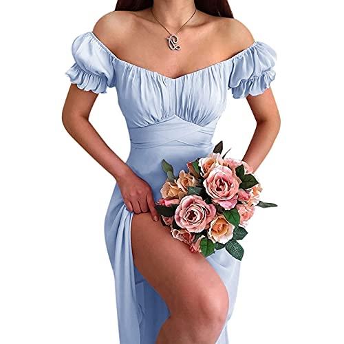 joyvio Biała sukienka damska, elegancka sukienka damska z krótkim rękawem, sukienki plażowe, letnia sukienka, biała sukienka damska, bufiaste rękawy, krótka spódniczka na lato