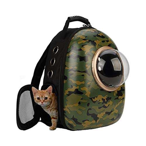 Pet Backpack Sac à dos pour animaux de compagnie Capsule respirant Astronaut Bubble Pet Cat Carrier Transport imperméable à l'eau Portable Sac à dos Premium (42cmX27cmX29cm) Army Green Plein Air Porta