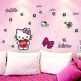 Adhesivos de pared para habitaciones de niñosHello Kitty Cute Adhesivos de pared Dormitorio Salón Adhesivos para automóviles Habitación infantil 50 * 70