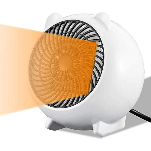 Mini Heizlüfter Keramik Energiesparend Schnellheizer Tragbar mit 2s Schnellheizung Automatische Oszillation Temperaturreglung/Überhitzungsschutz/Umkippschutz für Büro, Camping(500W)