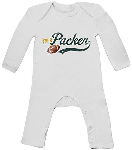 I\'m a Packer #1 Babybody American Football Babybody Super Bowl NFL, Farbe:Weiß (White BZ13);Größe:12-18 Monate