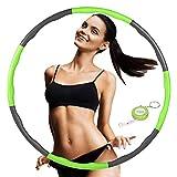 FUNNY HOUSE Hula Hoop Aro para perder peso, ajustable, ancho 75 – 95 cm, neumáticos espuma aprox. 1,2 kg, 8 segmentos desmontables (verde)