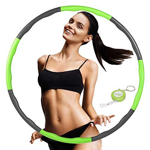 FUNNY HOUSE Hula Hoop Reifen zur Gewichtsreduktion, Einstellbar Breit 75–95 cm Reifen Schaumstoff ca 1.2 kg, 8 Segmente Abnehmbarer Hula Hoop (Grün)