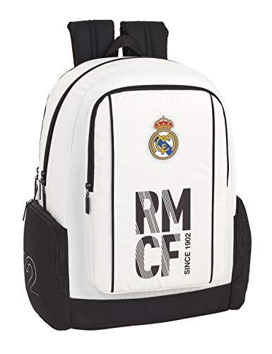Real Madrid CF Mochila Grande Funda Ordenador, niño Equipaje para niños, Blanco, 43 cm