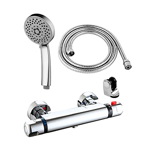 DP Grifería - Grifo de ducha y bañera termostático, incluye alcachofa, soporte y flexo