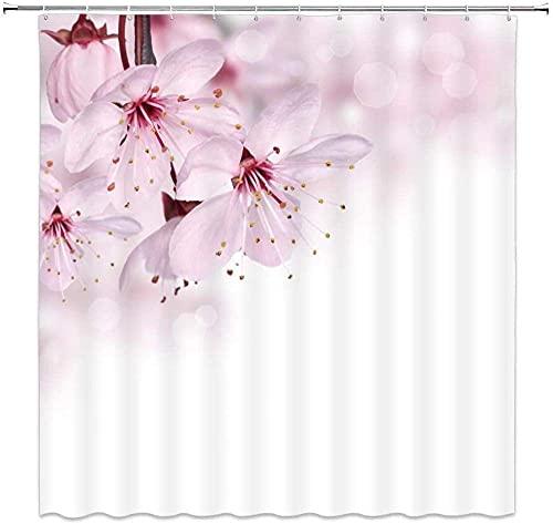 Searchi Duschvorhang Pfirsichblüte Geschnittene Reife Fruchtblätter Vorhang Wasserdicht Anti-Schimmel Und Wasserabweisend 180*180Cm Top Qualität Wasserdicht, Anti-Schimmel-Effekt 3D Digitaldruck