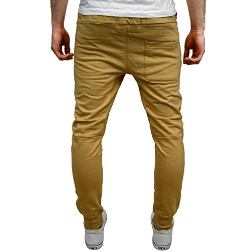 ENTT Mens Designer Branded Tapered Skinny Fit Jogging Bottoms (S, Sand)