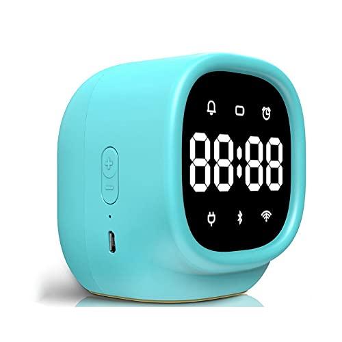 SSMDYLYM Reloj despertador inteligente para niños con control de voz para estudiante con recordatorio de voz de cabecera multifuncional