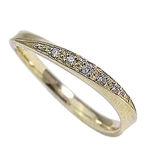 [ジュエリーアイ]Jewelry i 指輪 ダイヤモンドリング ウェーブライン イエローゴールドK18 結婚指輪 単品 ピンキーリング ギフト 8号