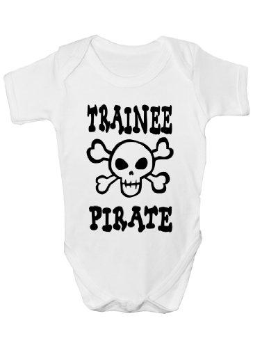 Trainee Body pour bébé Motif pirate/crâne et os croisés - Blanc - 0-3 mois