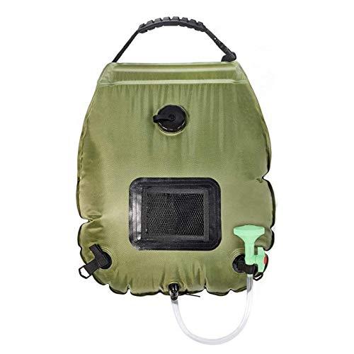 Primlisa Ducha de camping, bolsa de ducha solar, 20 L, portátil, resistente PVC, con manguera flexible y cabezal de ducha ajustable, 18,5 x 19,7 pulgadas