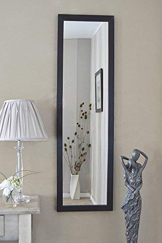 MirrorOutlet Espejo de Pared Grande con diseño contemporáneo, Color Negro, 130 cm x 38 cm