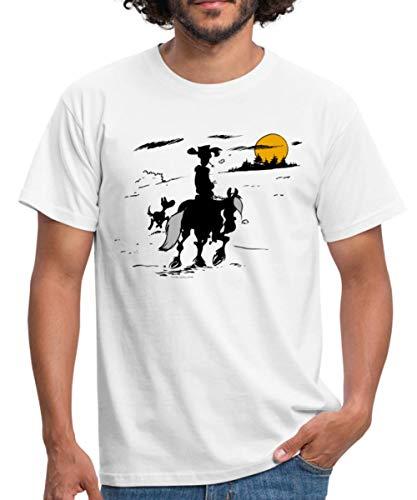 Lucky Luke mit Jolly Jumper und Rantanplan Männer T-Shirt, M, Weiß