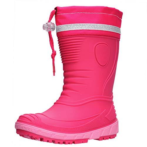 AQUAZON Classic Kinder Gummistiefel, Regenstiefel, Rain Boot, Gefüttert Mit 80% echter Schafswolle oder ungefüttert, wasserfest, federleicht für Jungen und Mädchen, Size:24, Farbe:pink gefüttert