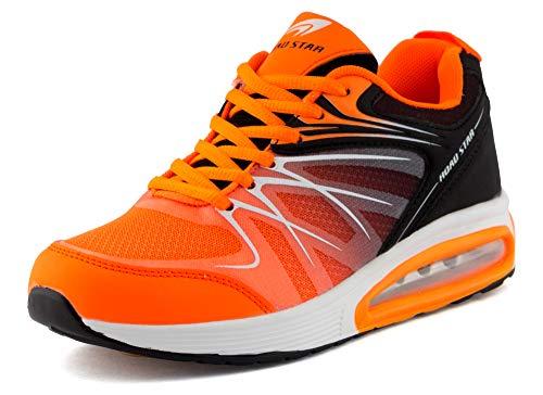 Fusskleidung Damen Herren Sportschuhe Sneaker Dämpfung Laufschuhe Neon Jogging Gym Unisex Orange Schwarz EU 43