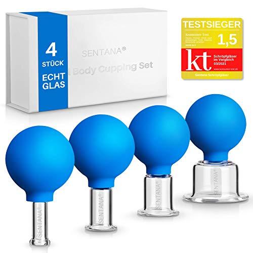 Sentana® Schröpfgläser mit Saugball [4 Stück] - Hochwertiges Schröpfglas Set aus Echtglas für jede Körperstelle - Schröpfen gegen Verspannungen und Cellulite