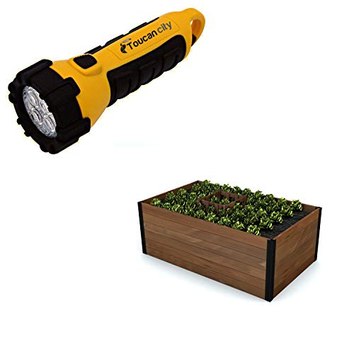 Toucan City LED Flashlight and New England Arbors Mezza 60 in. x 36 in. x 22 in. Golden Brown Wood Raised Composting Garden VT17702