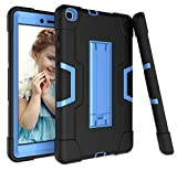Galaxy Tab A 8.0 Case 2019, Bingcok Heavy Duty Rugged Full-Body Hybrid Shockproof Drop Protection Cover with Kickstand for Samsung Galaxy Tab A 8.0 2019 Model SM-T290 /SM- T295 (1-Black +Blue)