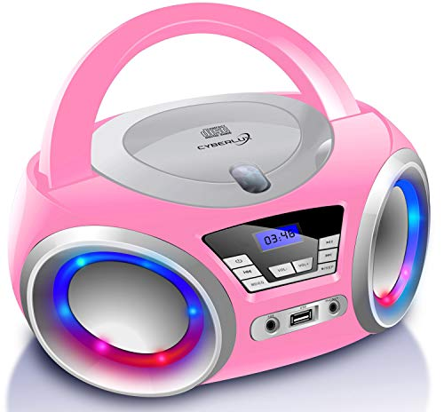 CD-Player mit LED-Beleuchtung | Kopfhöreranschluss | Tragbares Stereo Radio | Kinder Radio | Stereoanlage | USB | CD/MP3 Player | FM Radio | Kopfhöreranschluss | Aux In (Pretty Kitty Pink)