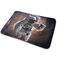 NIESIKKLA バスマット、アンドロメダ銀河ファンタジーサイエンスフィクションアートプリントで宇宙空間に銀河宇宙飛行士、マット滑り止め ソフトタッチ 丸洗い 洗濯 台所 脱衣場 キッチン 玄関やわらかマット 40x 60cm